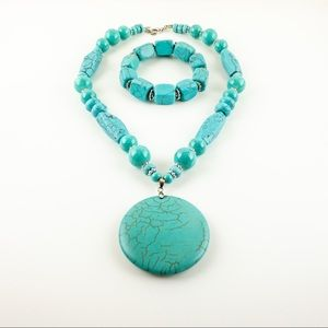 Artisan Dyed Howlite Pendant Necklace and Bracelet